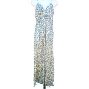Blue & Cream Mossimo Deep V Neck Floral Maxi Dress